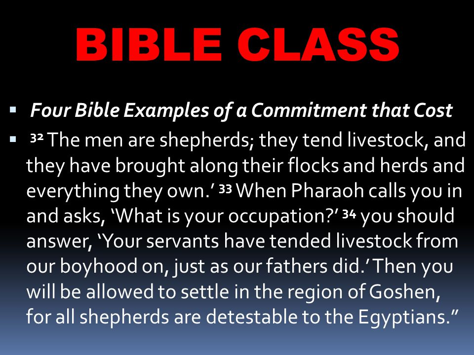 BIBLE CLASS  Four Bible Examples of a Commitment that Cost  32 The men are shepherds; they tend livestock, and they have brought along their flocks and herds and everything they own.' 33 When Pharaoh calls you in and asks, 'What is your occupation ' 34 you should answer, 'Your servants have tended livestock from our boyhood on, just as our fathers did.' Then you will be allowed to settle in the region of Goshen, for all shepherds are detestable to the Egyptians.