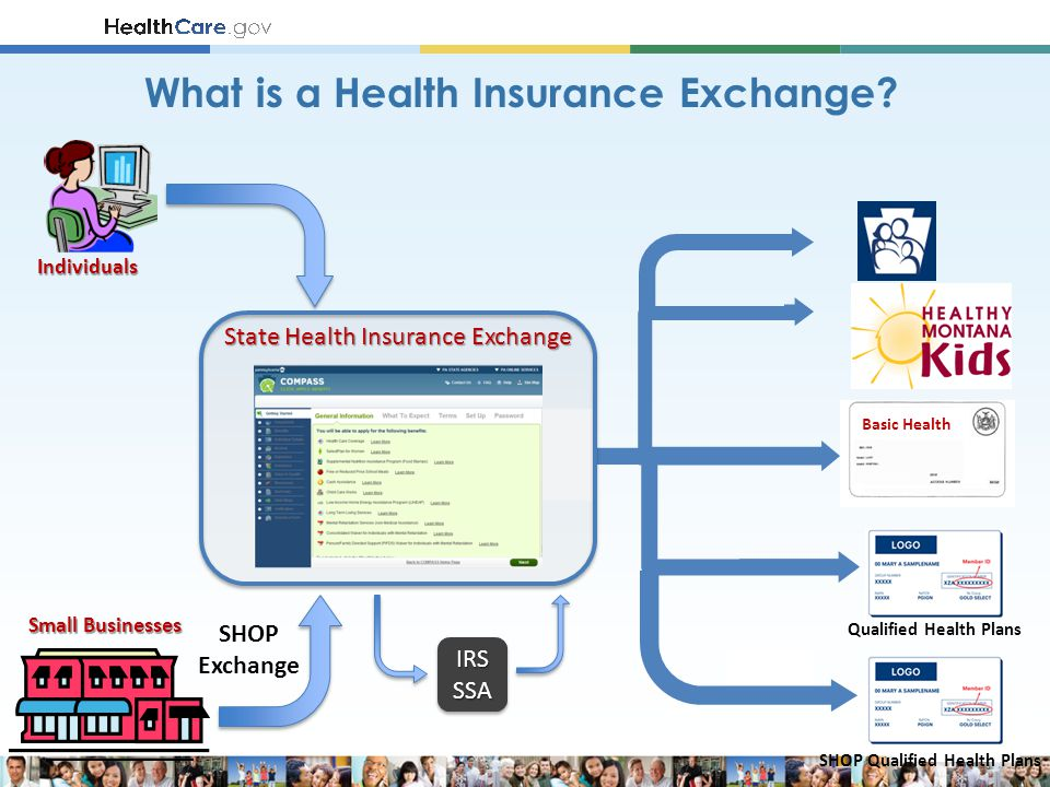 Basic Health Small Businesses Individuals IRSSSAIRSSSA Qualified Health Plans SHOP Qualified Health Plans SHOP Exchange State Health Insurance Exchange What is a Health Insurance Exchange?