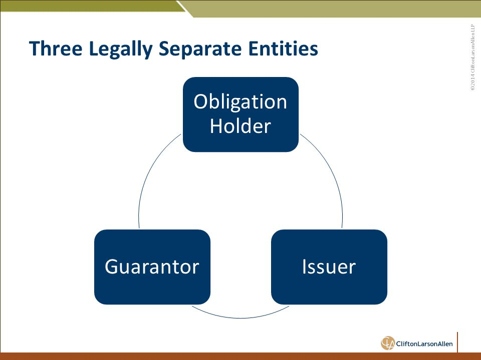 ©2014 CliftonLarsonAllen LLP Three Legally Separate Entities Obligation Holder IssuerGuarantor