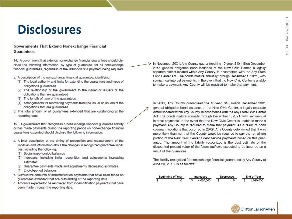 ©2014 CliftonLarsonAllen LLP Disclosures