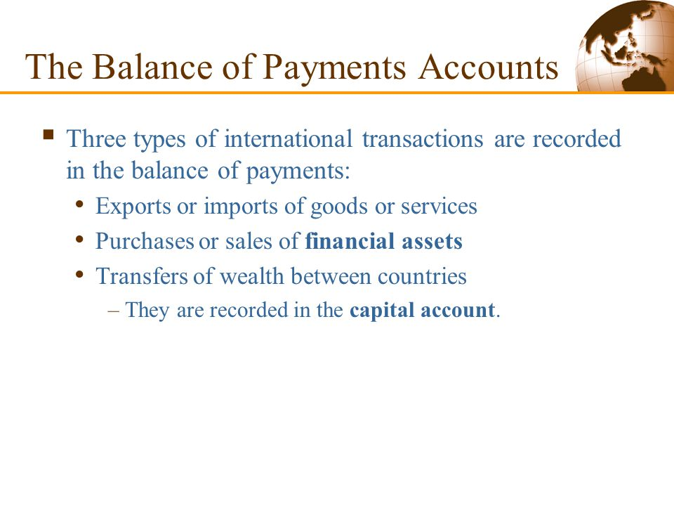 The Balance of Payments Accounts  A country's balance of payments accounts keep track of both its payments to and its receipts from foreigners.