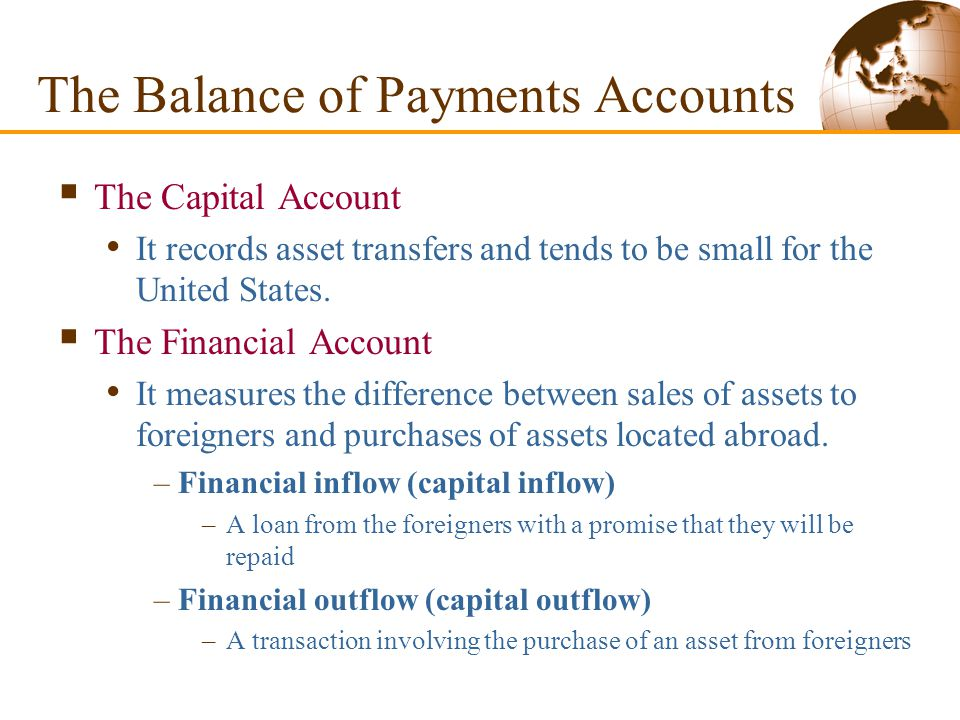 The Current Account, Once Again The balance of payments accounts divide exports and imports into three categories: –Merchandise trade –Exports or imports of goods –Services –Payments for legal assistance, tourists' expenditures, and shipping fees –Income –International interest and dividend payments and the earnings of domestically owned firms operating abroad The Balance of Payments Accounts