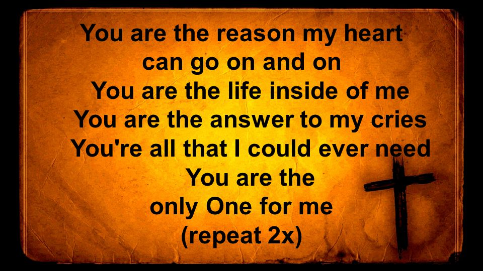 You are the reason my heart can go on and on You are the life inside of me You are the answer to my cries You re all that I could ever need You are the only One for me (repeat 2x)