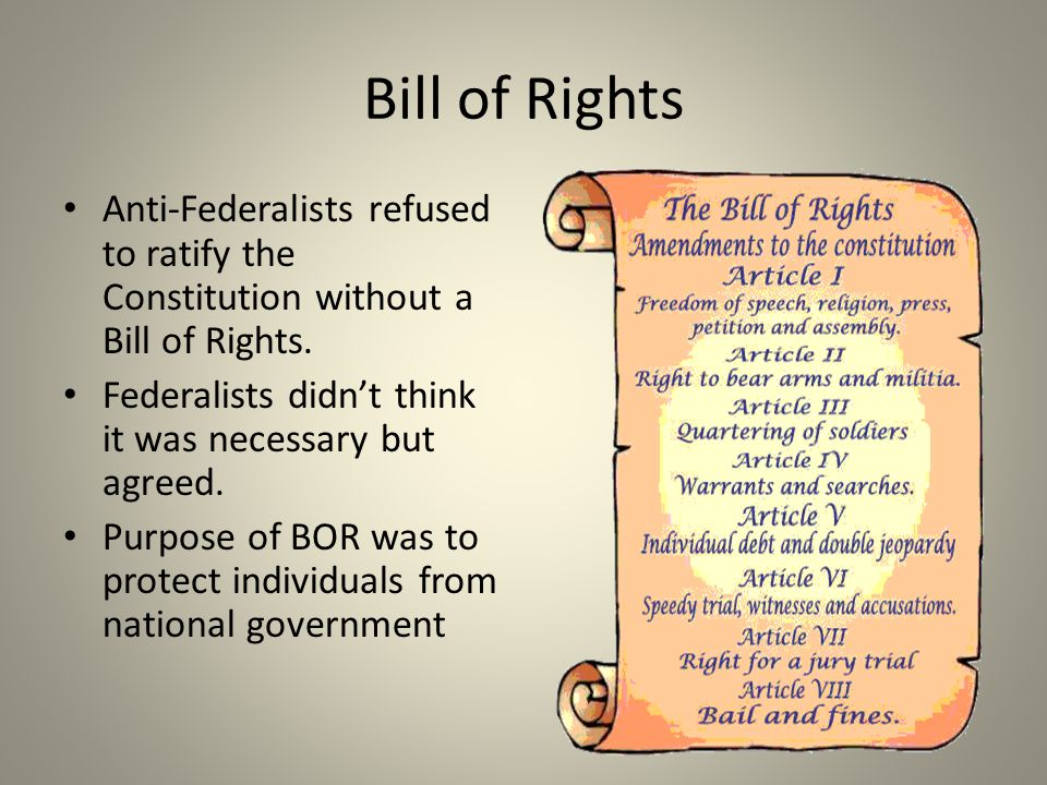 Bill of Rights Anti-Federalists refused to ratify the Constitution without a Bill of Rights.