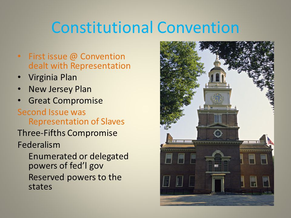 Constitutional Convention First issue @ Convention dealt with Representation Virginia Plan New Jersey Plan Great Compromise Second Issue was Representation of Slaves Three-Fifths Compromise Federalism Enumerated or delegated powers of fed'l gov Reserved powers to the states