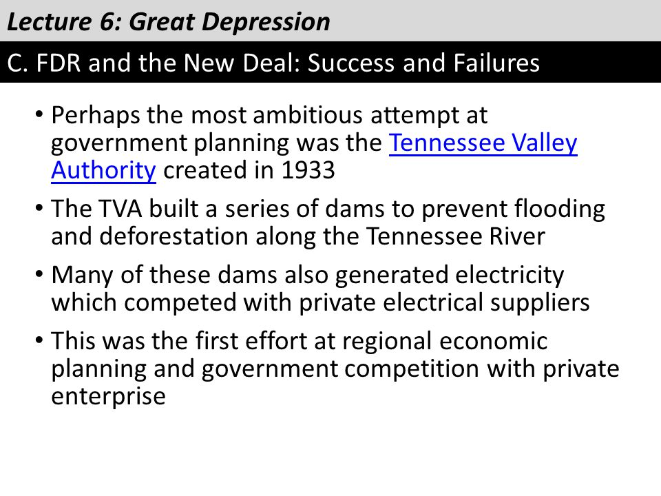 Lecture 6: Great Depression C. FDR and the New Deal: Success and Failures Perhaps the most ambitious attempt at government planning was the Tennessee