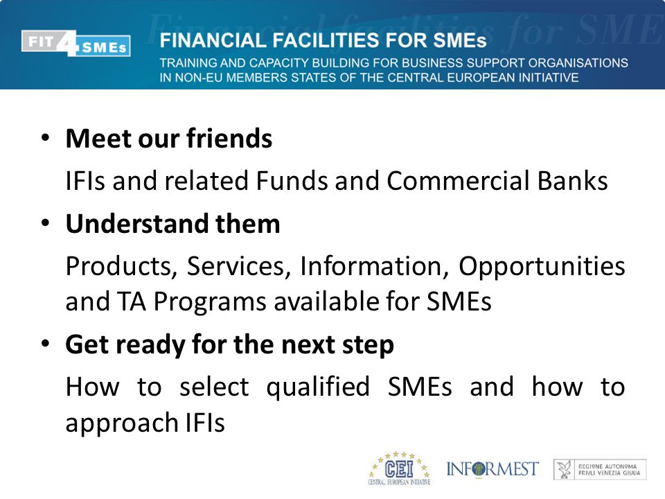 Meet our friends IFIs and related Funds and Commercial Banks Understand them Products, Services, Information, Opportunities and TA Programs available for SMEs Get ready for the next step How to select qualified SMEs and how to approach IFIs