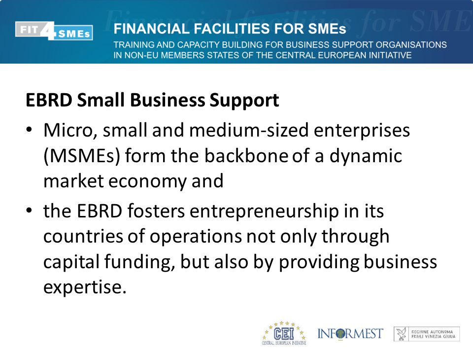 EBRD Small Business Support Micro, small and medium-sized enterprises (MSMEs) form the backbone of a dynamic market economy and the EBRD fosters entre