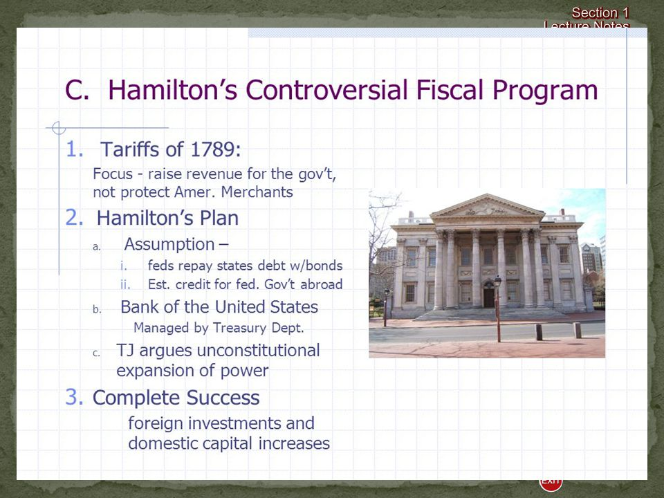 Financing the Government By the end of 1789, the government needed additional monies to continue to operate.