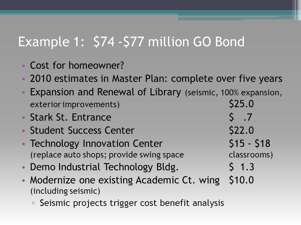 Example 1: $74 -$77 million GO Bond Cost for homeowner? 2010 estimates in Master Plan: complete over five years Expansion and Renewal of Library (seis