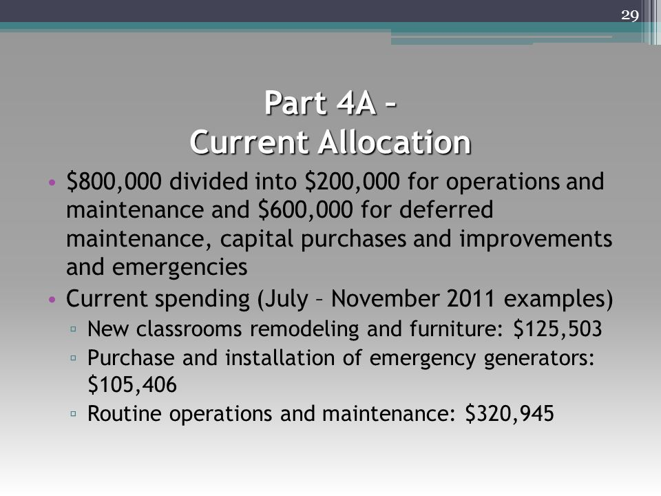 Part 4A – Current Allocation $800,000 divided into $200,000 for operations and maintenance and $600,000 for deferred maintenance, capital purchases and improvements and emergencies Current spending (July – November 2011 examples) ▫ New classrooms remodeling and furniture: $125,503 ▫ Purchase and installation of emergency generators: $105,406 ▫ Routine operations and maintenance: $320,945 29