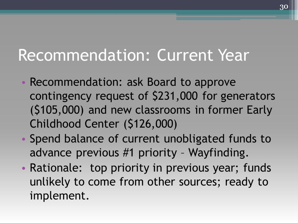 Recommendation: Current Year Recommendation: ask Board to approve contingency request of $231,000 for generators ($105,000) and new classrooms in form