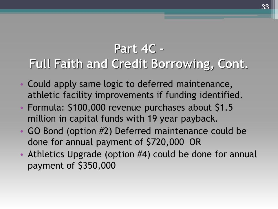 Part 4C – Full Faith and Credit Borrowing, Cont. Could apply same logic to deferred maintenance, athletic facility improvements if funding identified.