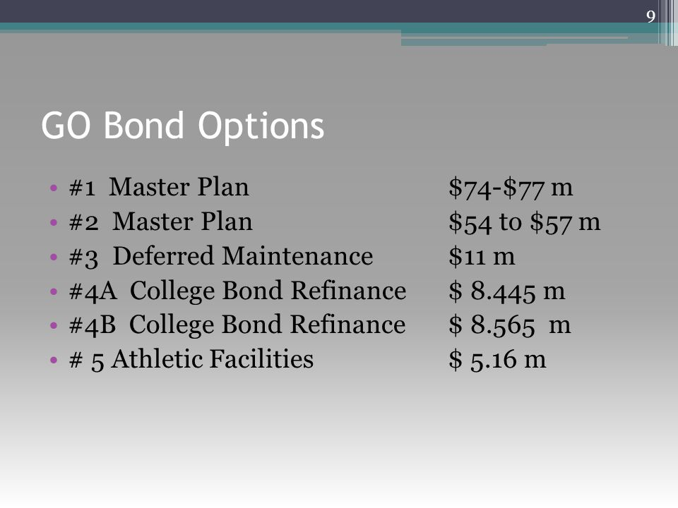 GO Bond Options #1 Master Plan $74-$77 m #2 Master Plan $54 to $57 m #3 Deferred Maintenance $11 m #4A College Bond Refinance $ 8.445 m #4B College Bond Refinance $ 8.565 m # 5 Athletic Facilities $ 5.16 m 9