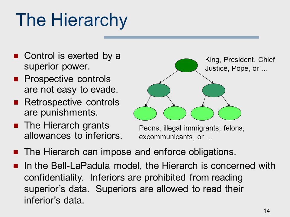 14 The Hierarchy Control is exerted by a superior power.