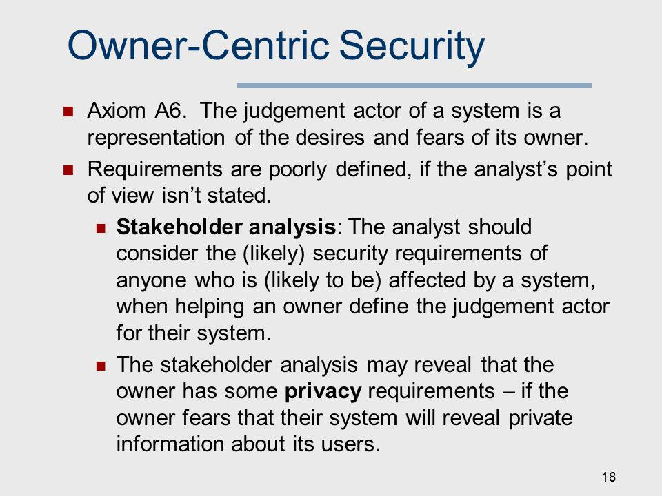 Owner-Centric Security Axiom A6.