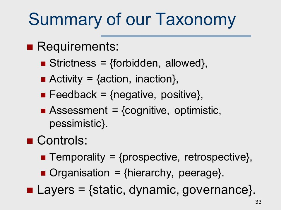 Summary of our Taxonomy Requirements: Strictness = {forbidden, allowed}, Activity = {action, inaction}, Feedback = {negative, positive}, Assessment = {cognitive, optimistic, pessimistic}.