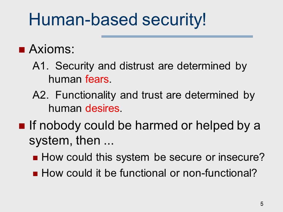 Human-based security. Axioms: A1. Security and distrust are determined by human fears.