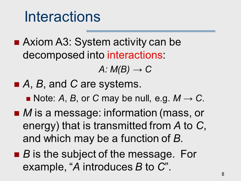 Interactions Axiom A3: System activity can be decomposed into interactions: A: M(B) → C A, B, and C are systems.