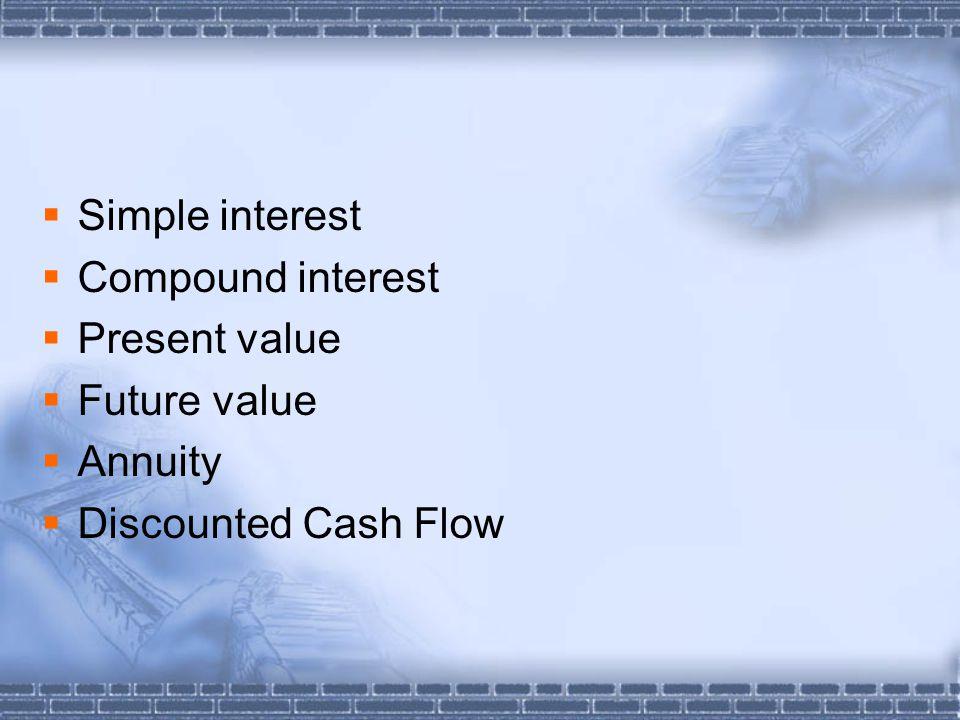  Simple interest  Compound interest  Present value  Future value  Annuity  Discounted Cash Flow
