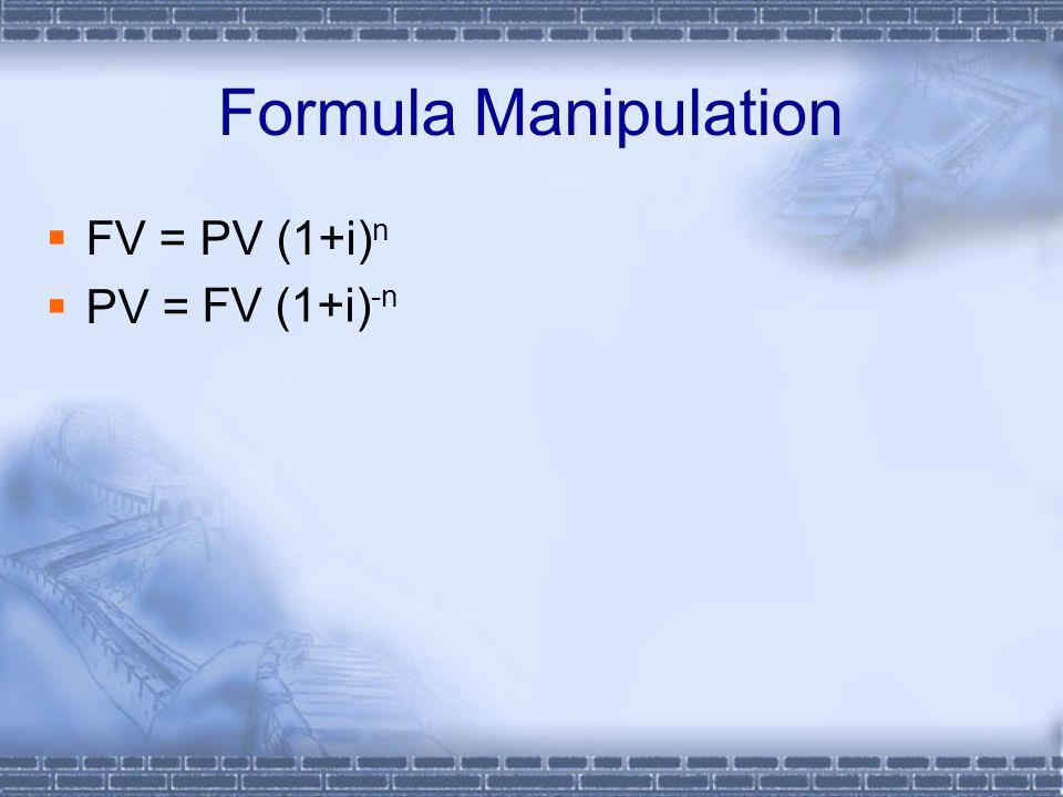  FV = PV (1+i) n  PV = Formula Manipulation FV (1+i) -n
