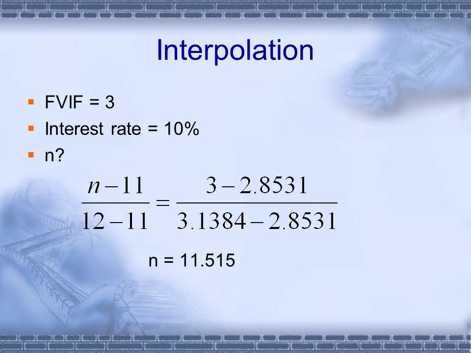 Interpolation  FVIF = 3  Interest rate = 10%  n? n = 11.515
