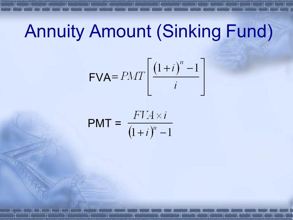 FVA Annuity Amount (Sinking Fund) PMT =