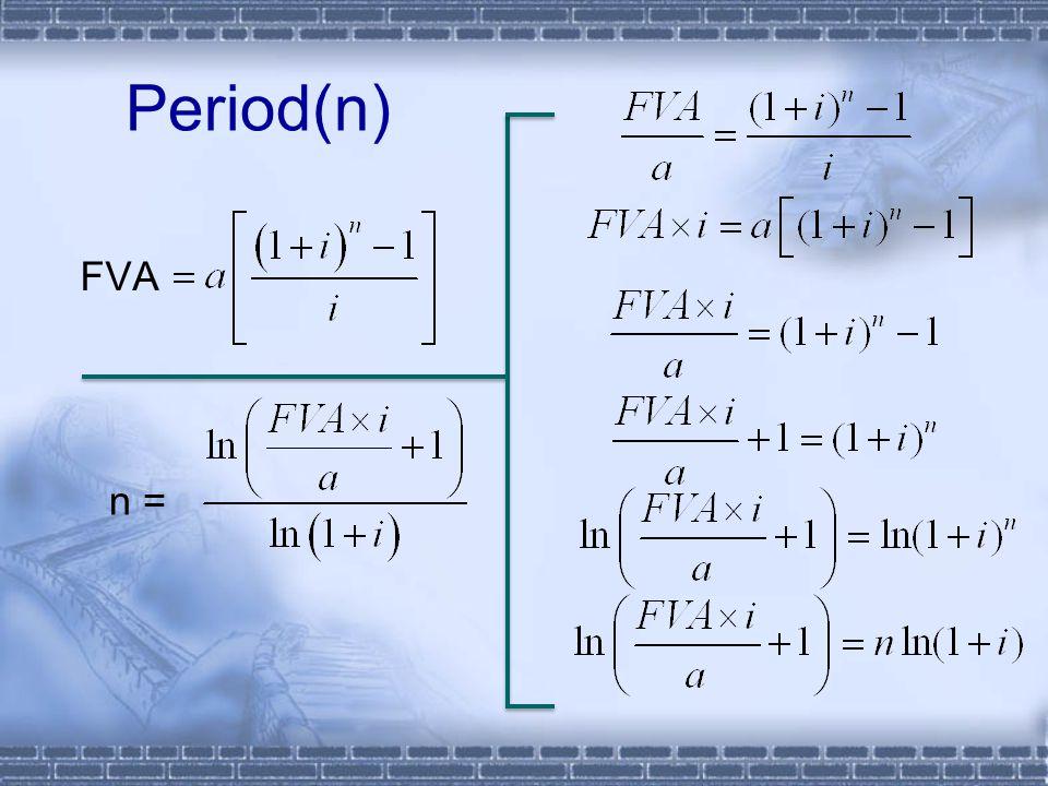 FVA Period(n) n =