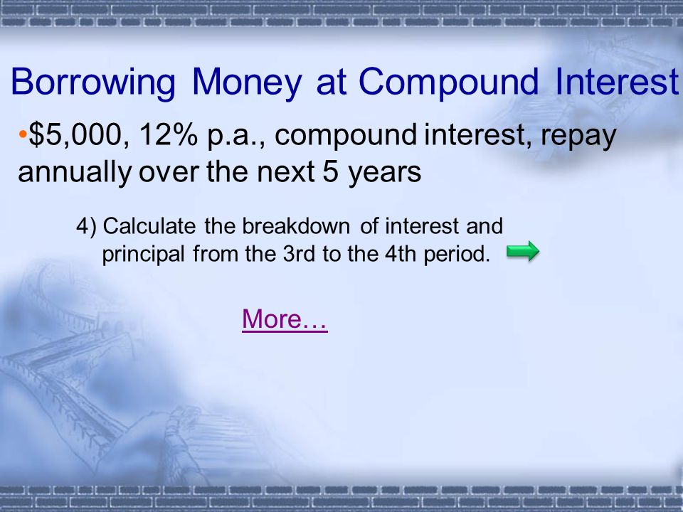 Borrowing Money at Compound Interest $5,000, 12% p.a., compound interest, repay annually over the next 5 years More… 4) Calculate the breakdown of int