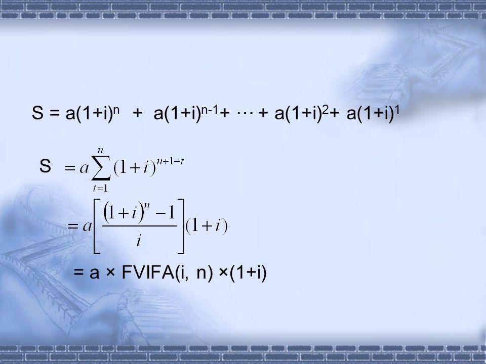S = a × FVIFA(i, n) ×(1+i) S = a(1+i) n + a(1+i) n-1 + + a(1+i) 2 + a(1+i) 1 …