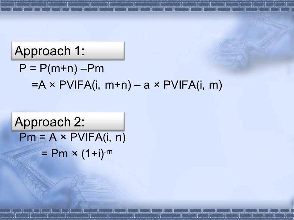 P = P(m+n) –Pm =A × PVIFA(i, m+n) – a × PVIFA(i, m) Pm = A × PVIFA(i, n) = Pm × (1+i) -m Approach 1: Approach 2: