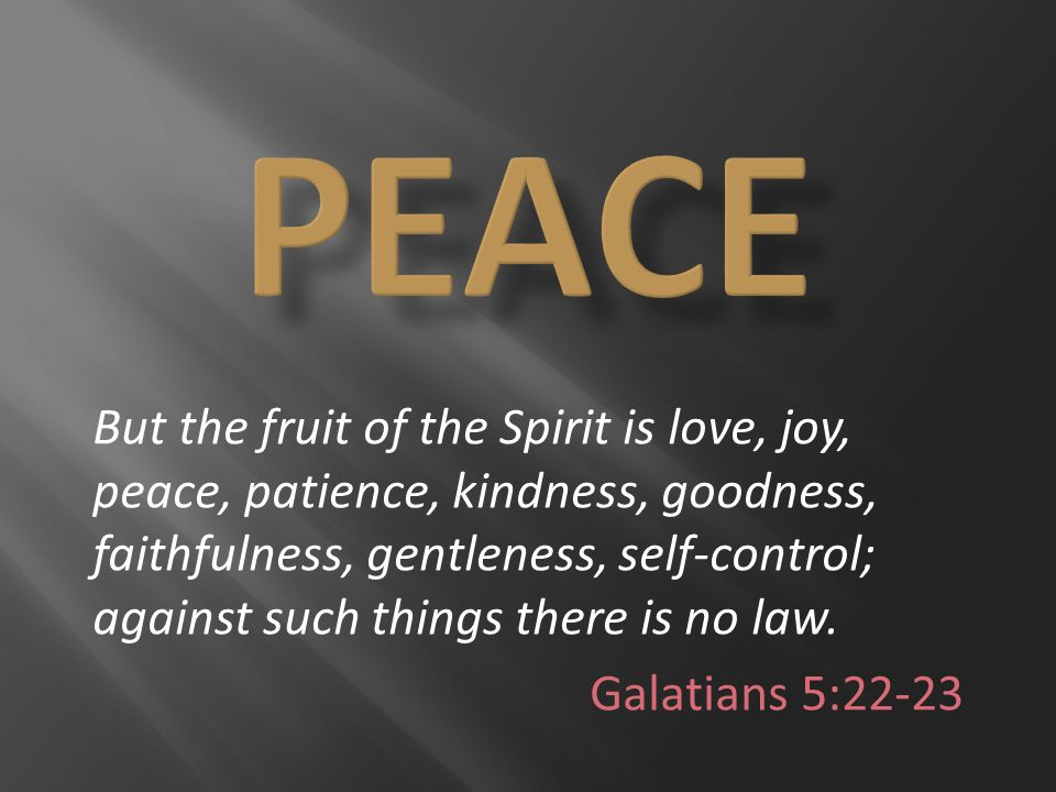 But the fruit of the Spirit is love, joy, peace, patience, kindness, goodness, faithfulness, gentleness, self-control; against such things there is no