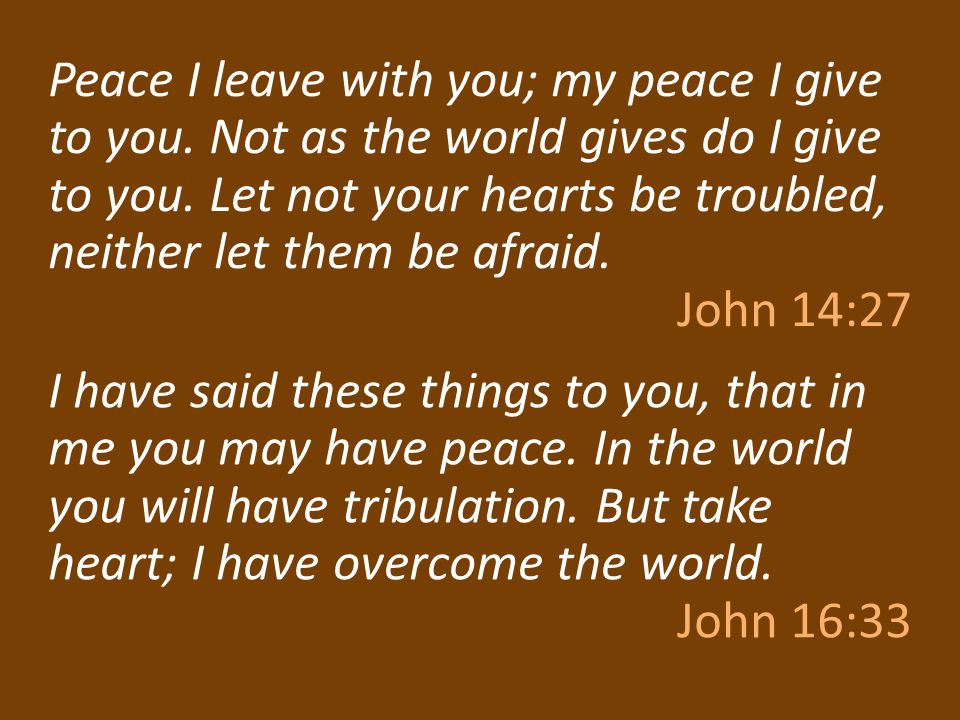 Peace I leave with you; my peace I give to you. Not as the world gives do I give to you. Let not your hearts be troubled, neither let them be afraid.