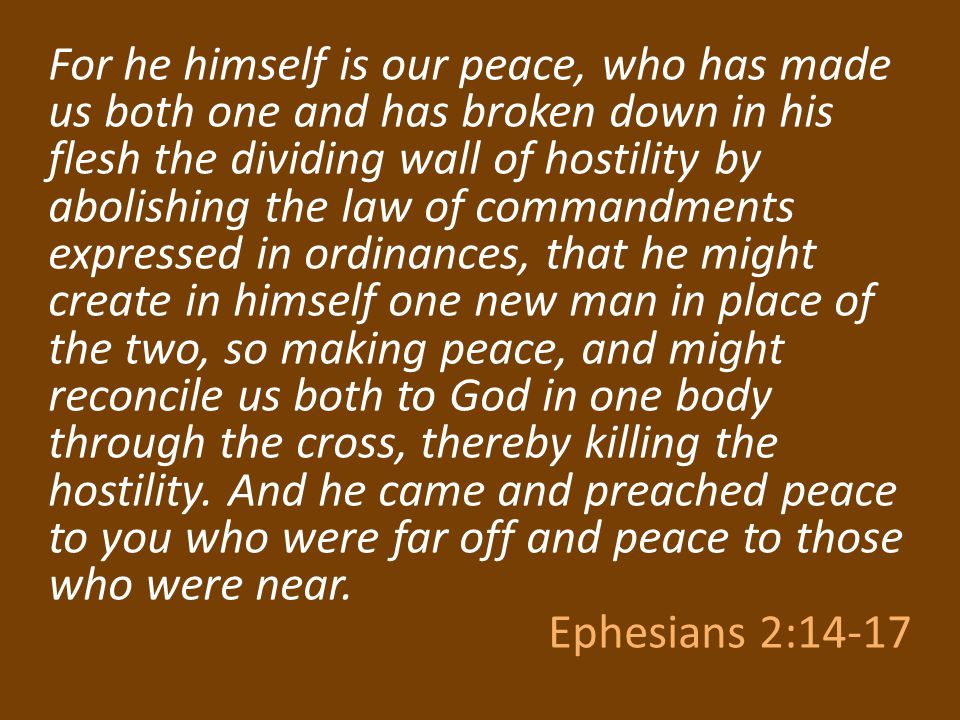 For he himself is our peace, who has made us both one and has broken down in his flesh the dividing wall of hostility by abolishing the law of command