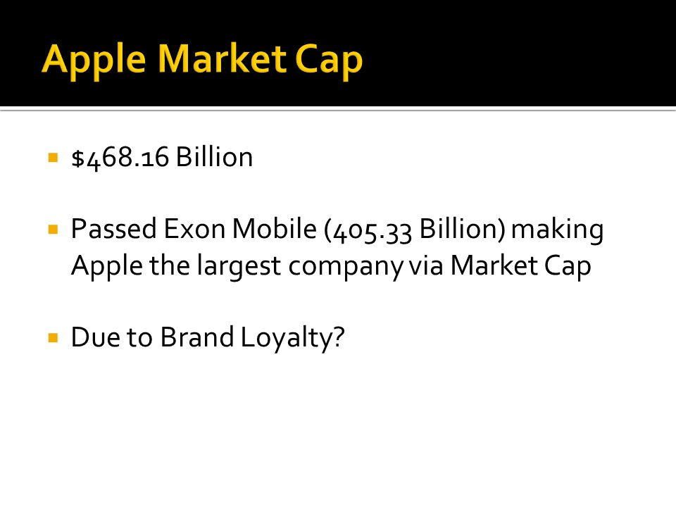  $468.16 Billion  Passed Exon Mobile (405.33 Billion) making Apple the largest company via Market Cap  Due to Brand Loyalty