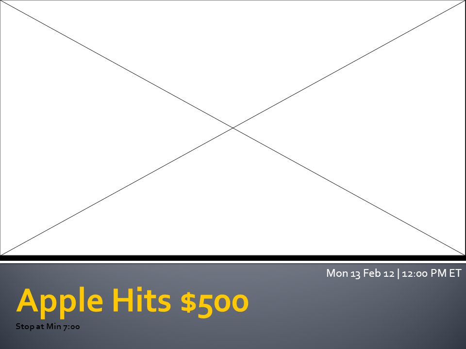 Apple Hits $500 Stop at Min 7:00 Mon 13 Feb 12 | 12:00 PM ET