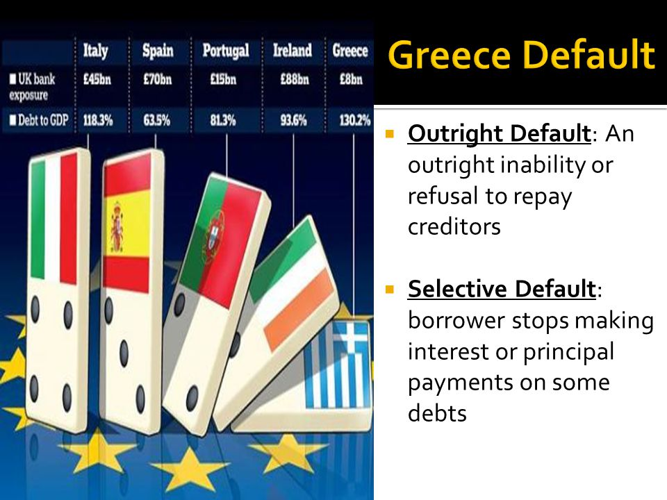  Outright Default: An outright inability or refusal to repay creditors  Selective Default: borrower stops making interest or principal payments on some debts
