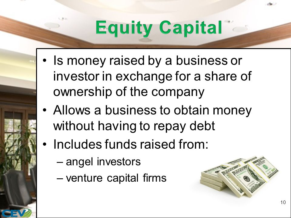 Is money raised by a business or investor in exchange for a share of ownership of the company Allows a business to obtain money without having to repay debt Includes funds raised from: –angel investors –venture capital firms 10