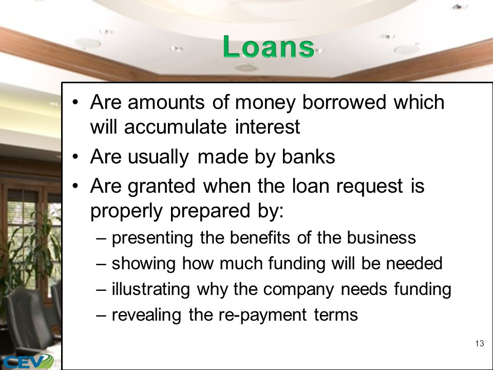 Are amounts of money borrowed which will accumulate interest Are usually made by banks Are granted when the loan request is properly prepared by: –presenting the benefits of the business –showing how much funding will be needed –illustrating why the company needs funding –revealing the re-payment terms 13