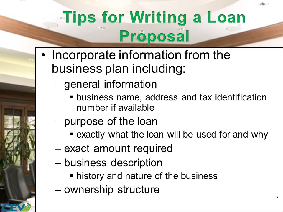 Incorporate information from the business plan including: –general information  business name, address and tax identification number if available –purpose of the loan  exactly what the loan will be used for and why –exact amount required –business description  history and nature of the business –ownership structure 15