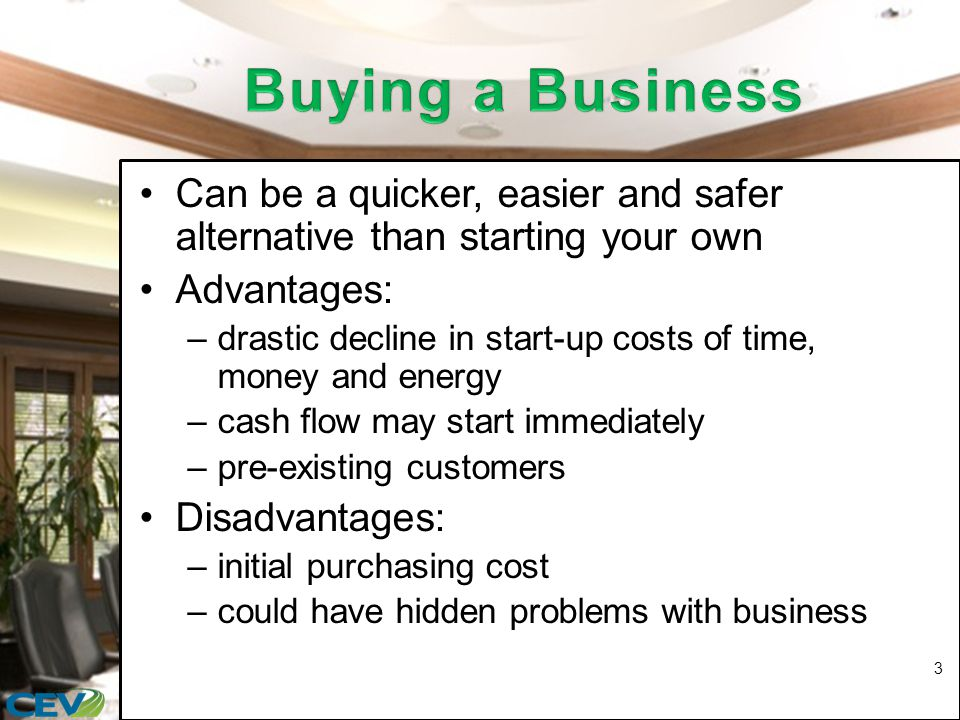 Can be a quicker, easier and safer alternative than starting your own Advantages: –drastic decline in start-up costs of time, money and energy –cash flow may start immediately –pre-existing customers Disadvantages: –initial purchasing cost –could have hidden problems with business 3