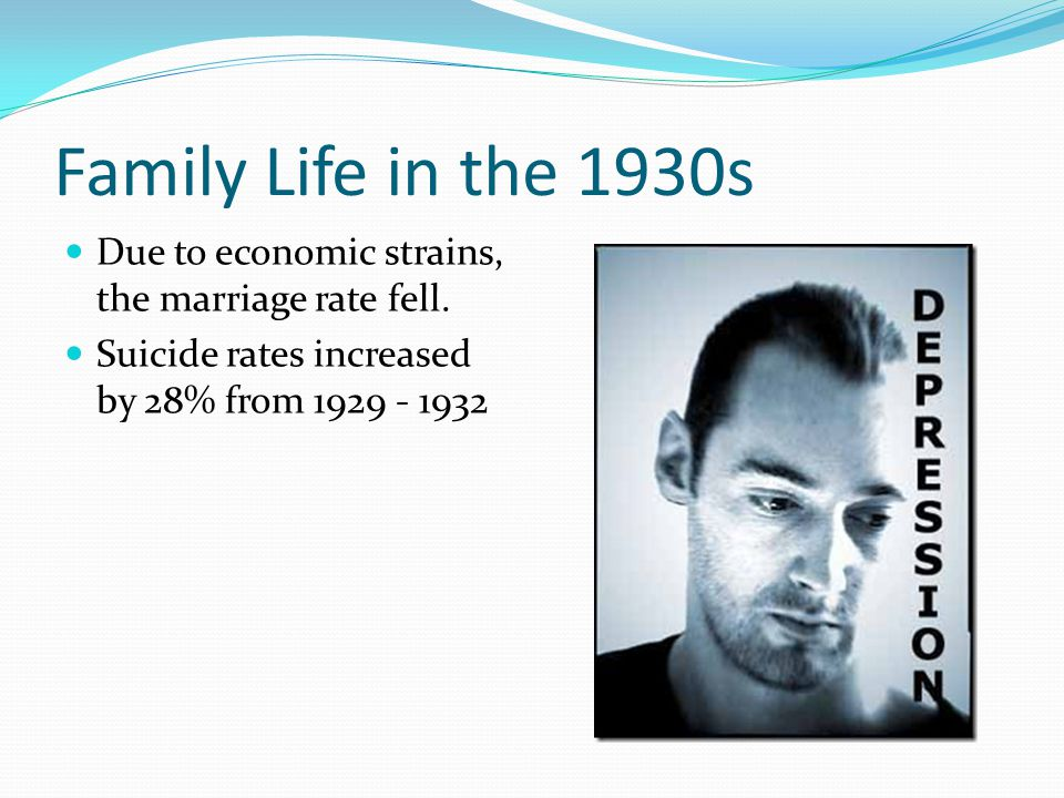 Family Life in the 1930s Due to economic strains, the marriage rate fell.