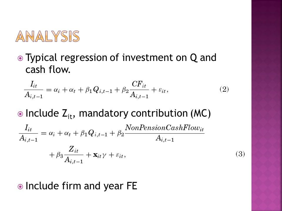  Typical regression of investment on Q and cash flow.