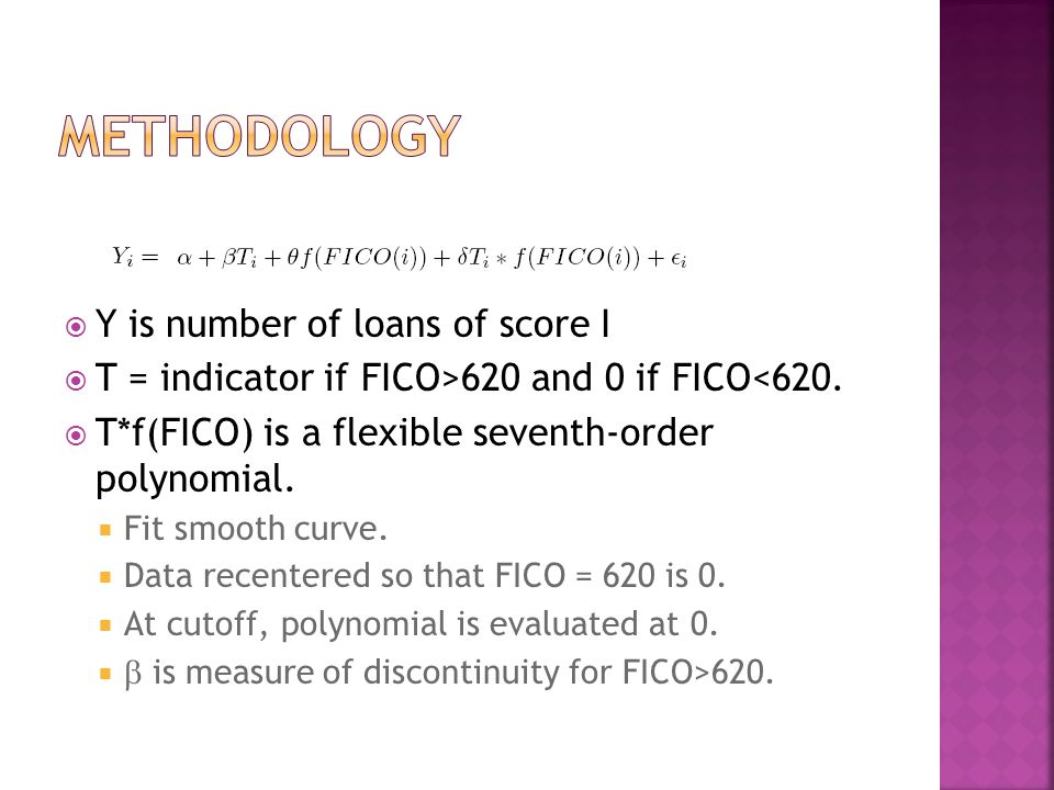  Y is number of loans of score I  T = indicator if FICO>620 and 0 if FICO<620.