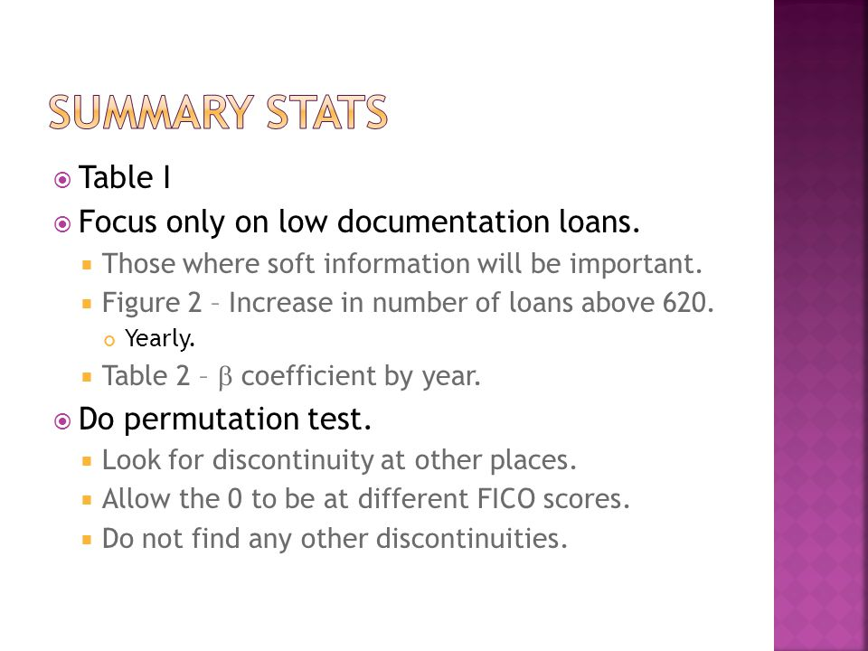  Table I  Focus only on low documentation loans.