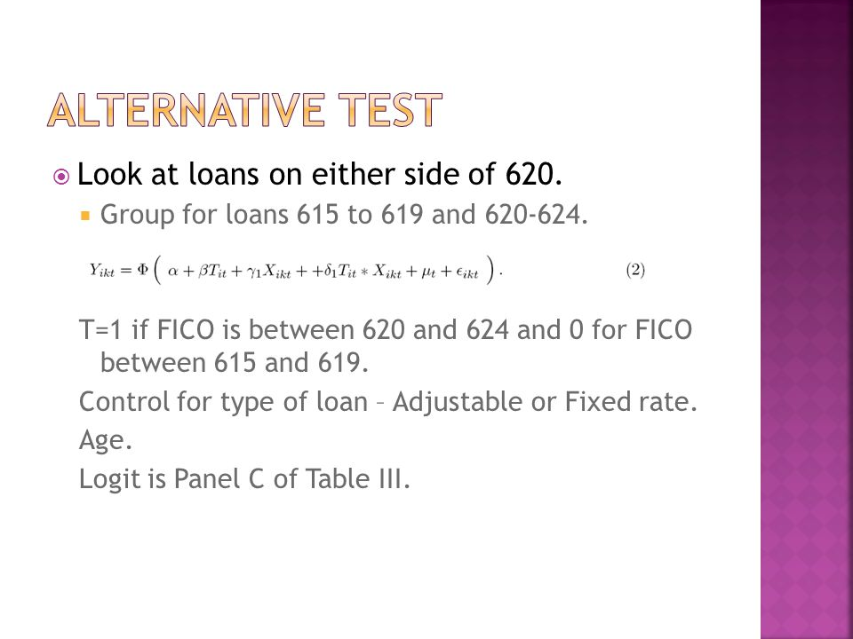  Look at loans on either side of 620.  Group for loans 615 to 619 and 620-624.