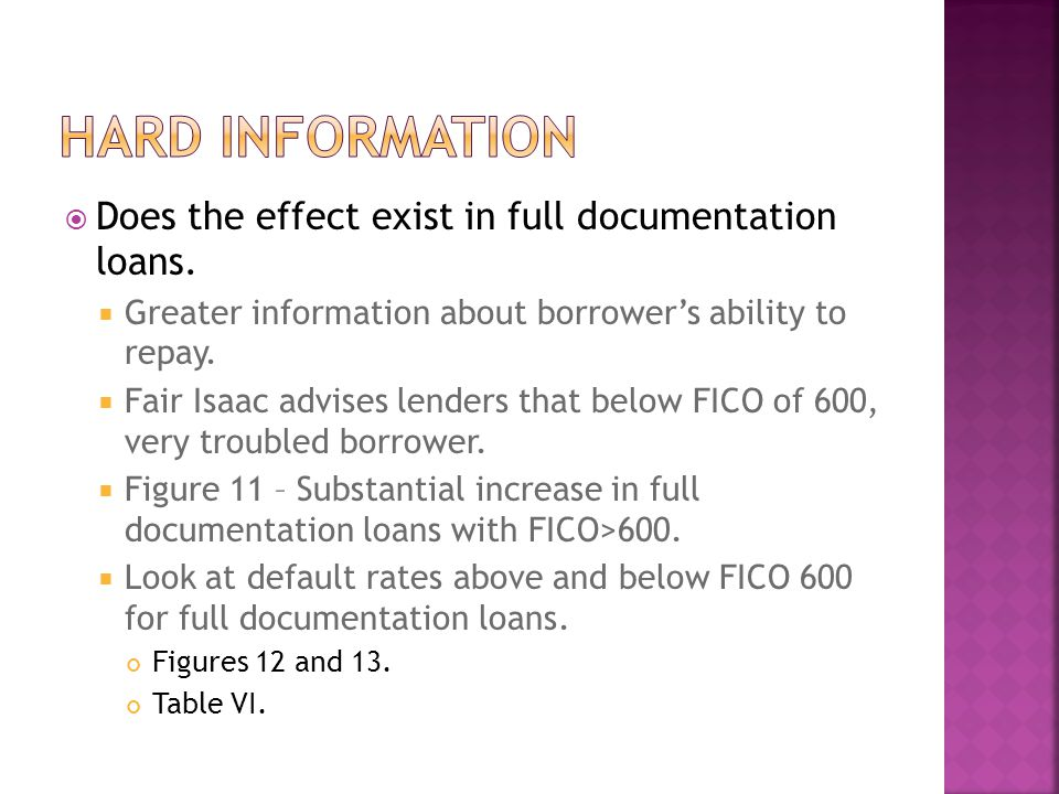  Does the effect exist in full documentation loans.  Greater information about borrower's ability to repay.  Fair Isaac advises lenders that below