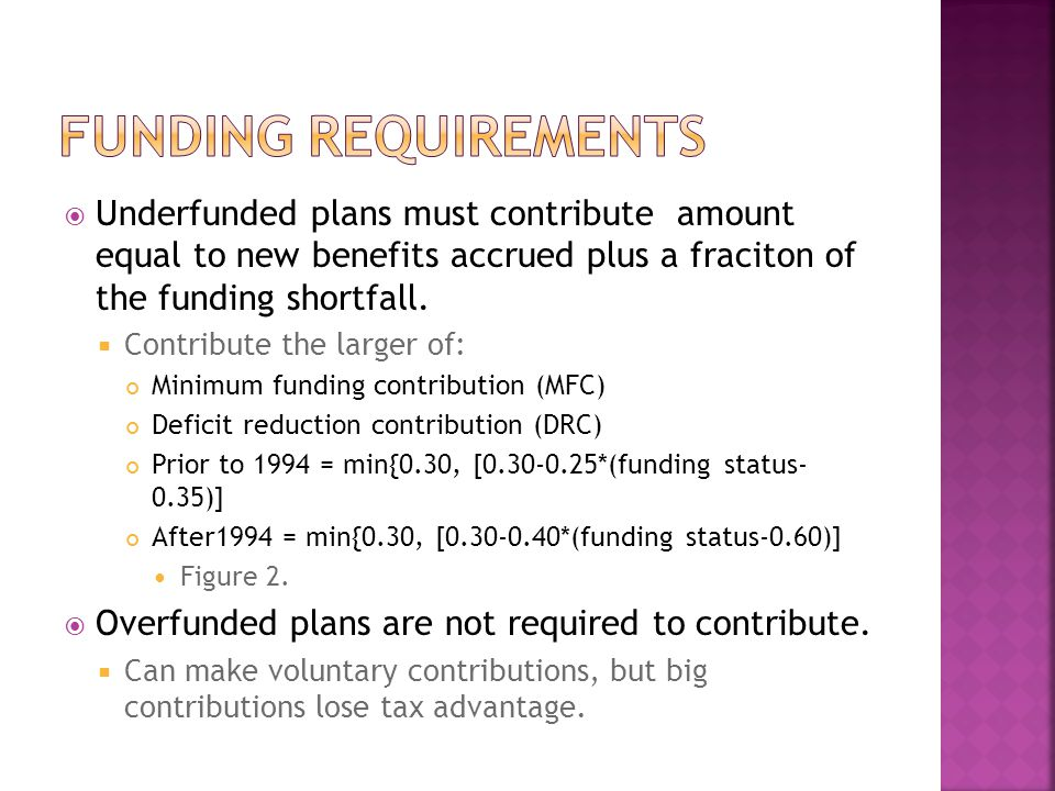  Underfunded plans must contribute amount equal to new benefits accrued plus a fraciton of the funding shortfall.  Contribute the larger of: Minimum
