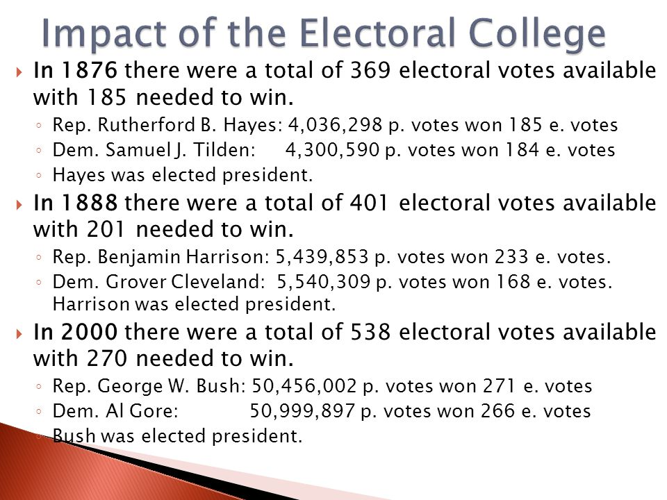  In 1876 there were a total of 369 electoral votes available with 185 needed to win. ◦ Rep. Rutherford B. Hayes: 4,036,298 p. votes won 185 e. votes