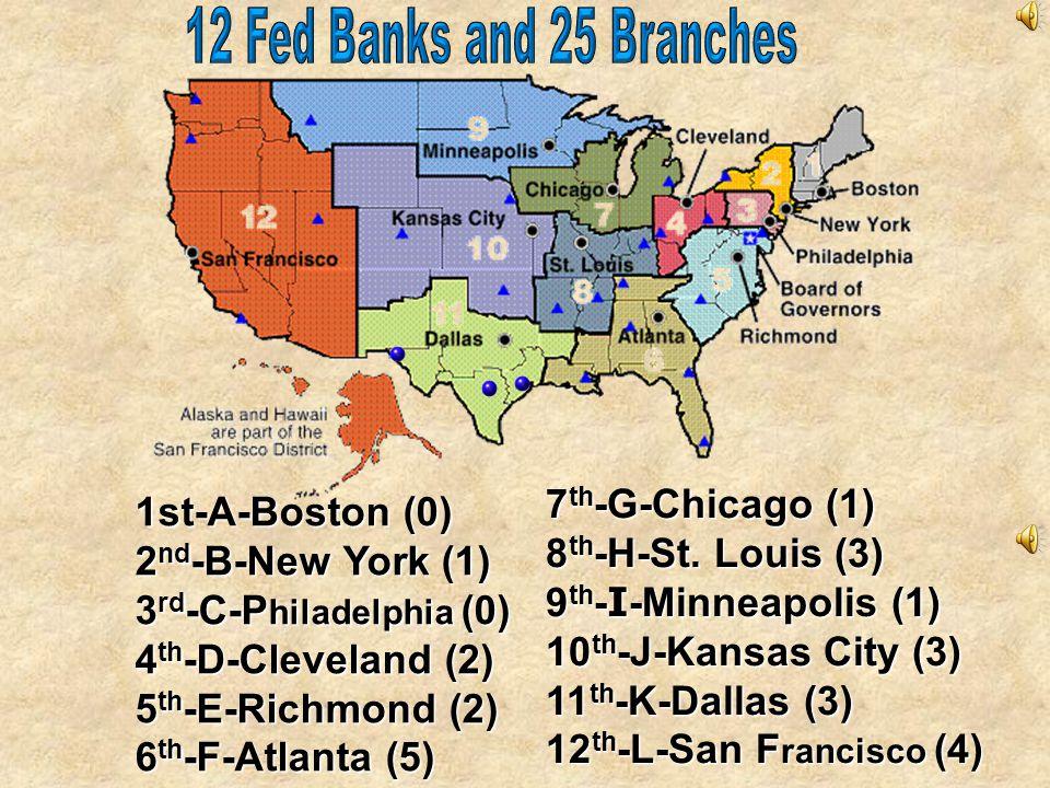 Philadelphia 3 San Francisco 12 1 Boston 4 Cleveland 9 Minneapolis 11 Dallas Washington, D.C. (Board of Governors) 10 Kansas City 7 Chicago 5 Richmond